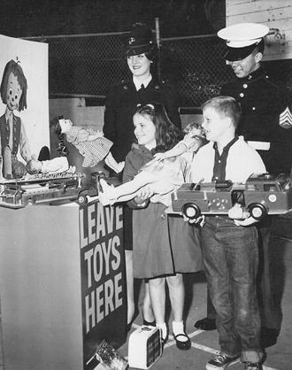 Marines collecting toys, 1966